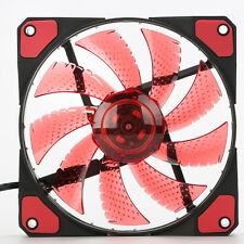 120mm Computer PC Case Cooling Fan Cooler With Quad 15 LED Red Light 9 Blades **