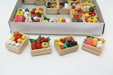 24 Different Wooden Crates Loaded With Fruit & Vegetables Dolls House 1:12 Scale