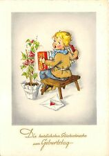 BG20689 boy playing accordion letter flower  birthday  geburtstag   germany