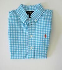 Ralph Lauren Boys Gingham Short Sleeve Shirt Turquoise Multi Sz L (14-16) - NWT