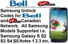 Unlock Code Bell Virgin All Samsung Model Galaxy S2 S3 S4 S5 S6 S7 Note 2 3 4 5