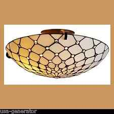 Jeweled Ceiling Lighting Fixture 2 Light White Semi-Flush Mount Tiffany Style