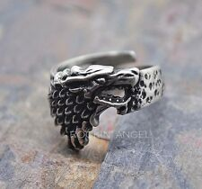 Antique Silver Plt Norse Wolf Ring  / Thumb Ring Adjustable Men Ladies Viking