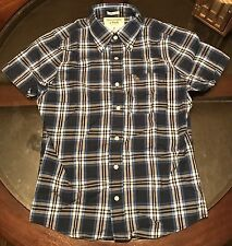 Abercombie & Fitch Mens Short Sleeve Shirt Muscle Fit Blue & White Plaid Size S