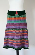 ETRO Bias Cut Knitted Wool-Mix Skirt - Green / Multi Fair Isle - UK 8 / 10