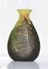 Rare Vase LEGRAS en Pâte de Verre Gravé Paysage Lacustre Art Nouveau Gallé Daum.