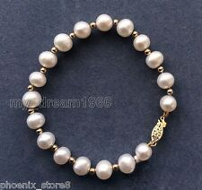 NATURAL 8-9MM FASHION SEA GENUINE WHITE Freshwater PEARL BRACELET