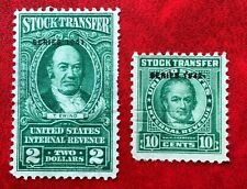 US 10c & $2 Stock Transfer Stamps #RD105 #RD121 Mint CV:$25