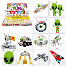 72 SPACE GALAXY ALIEN TEMPORARY TATTOOS BOYS PARTY BAG CHRISTMAS STOCKING FILLER