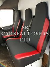TO FIT A FORD TRANSIT VAN, 2011, SEAT COVERS, ANTHRACITE & RED LEATHERETTE TRIM