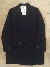 MIU MIU GIACCA JACKET 100% SILK CREPE DE CHINE DARK BLUE DBL-BREAST SZ 42 - NWT