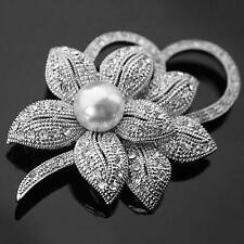 Hot Vintage Rhinestone Crystal Wedding Bridal Bouquet Flower Pearl Brooch Pin
