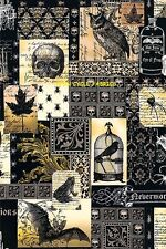 1 Fat Qtr NEVERMORE COLLAGE E. POE Birds Goth Gothic Steampunk Halloween Skulls