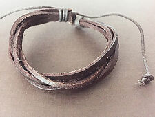 Genuine Leather Bracelets Unisex Men Women Handmade Stretchy Adjustable B3