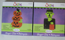 (2) Sizzix Bigz Halloween Dies, Frankenstein w/Treat Bag & Pumpkins w/Crow, NEW
