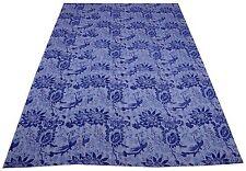Kantha Quilt Indian Antique Kantha Bedspread Cotton King Size Blanket Crazy Blue