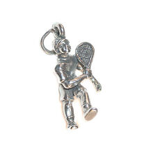 STERLING SILVER CHARM Sports Male Boy Racquetball TENNIS PLAYER