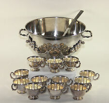 Great Silver Plate Punch Bowl with Cups, Ladle, Grapes