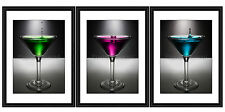 Martini cocktail glasses framed Prints - Set of 3 (ART PICTURE POSTER)