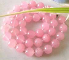 AAA natural genuine 10mm pink jade beads necklace 20 inch