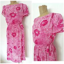 Vintage 80s Floral Dress Size Medium Sheer Pink Secretary Ties at Waist Career