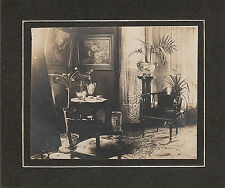 Victorian HOME INTERIOR Oil Painting Period Furniture Antique CABINET PHOTOGRAPH