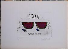 PAOLA PRATO acquaforte colorata mano ANGURIA 25x35 firmata numerata Water-Melon