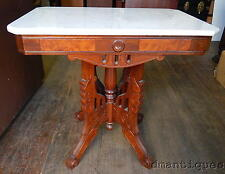 Antique Victorian Burled Walnut Marble-Top Coffee Table Deco Carved Design