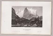 """Schweiz, Berge, Gletscher, """"Das Wetterhorn"""". Stich, Stahlstich um 1850"""