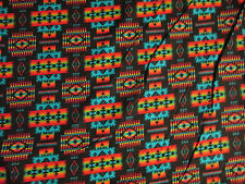 Navajo Indian Black Gold Orange Mulit Overall Print Cotton Flannel Fabric FQ