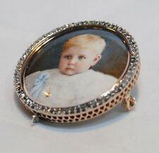 VINTAGE/ANTIQUE CHILD PORTRAIT DIAMOND BROOCH/PIN MINIATURE - $8K VALUE