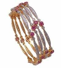 red ad cz gold plated Bollywood Indian Bridal Jewelry Bangles Bracelet set 4 pic