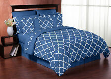 BLUE & WHITE TRELLIS PRINT KING SIZE BED IN A BAG COMFORTER SET BEDDING ENSEMBLE