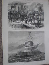 Railway station at Ruse Rustchuk Bulgaria & HMS Thunderer 1877 old prints ref W