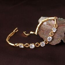 """Cool 24k yellow gold filled white sapphire aeonian PARTY bracelet 7""""9.2 g"""