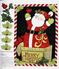 Santa Father Christmas Door Christmas Panel Cotton Quilting Fabric - Springs