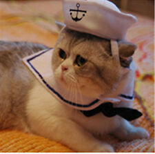 Puppy Pet Cat Kitten Small Dog Sailor Suit Adjustable Outfit Costume Hat + Cape