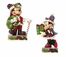 Disney Traditions Mickey & Minnie Mouse Christmas Figurine Gift Set NEW  25628