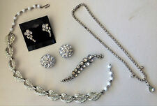 Vintage Costume Jewelry Lot Earrings Coro Necklace Brooch Rhinestones Buttons