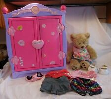 Build A Bear Beararmoire Fashion Case Closet Wardrobe Armoire + Bear Clothes