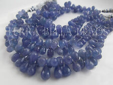 30 pc strand TANZANITE faceted gem stone teardrop briolette beads 7mm - 10mm