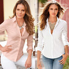 Womens Ladies Slim Fit Long Sleeve Cotton Casual Blouse Shirt Top Fashion Blouse