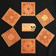 Clive Barker Inspired Hellraiser Puzzle Cube Engraved Wooden 6 Piece Coaster Set