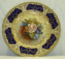 Signed Aynsley JA Bailey Cobalt Blue Gold Painted Rose 10.5 Cabinet Dinner Plate