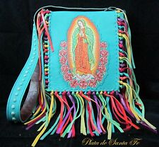 GUADALUPE~ Turquoise Italian Leather~Studs~Front Flap~Fiesta Fringe~Crossbody