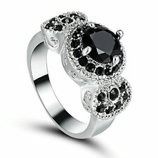 Size 6 Vintage Round Black Sapphire Anniversary Ring 10Kt white Gold Filled