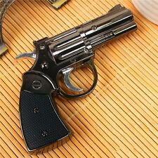 Revolver Pistol Gun Shape Flame Windproof Cigar Cigarette Butane Lighter Gift