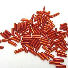 Hot 2x7mm 15g 450pcs Czech Glass Tube Bugle Beads Jewelry Making red
