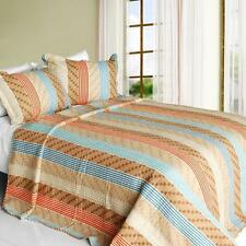 3 PC Million Miles 100% Cotton Vermicelli Queen Quilt Shams blue orange tan