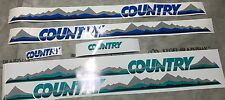 Dekor Set Sticker Decals Trim VW Golf Country blau grün Chrom